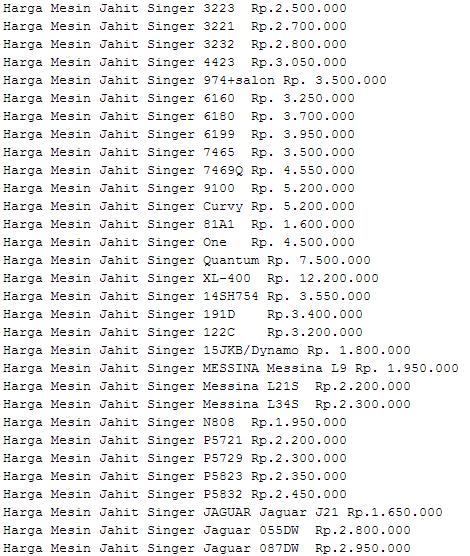 daftar harga mesin jahit singer